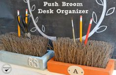 This trash to treasure pencil holder thats made from broom bristles 's more homey and helpful than the uninspired, angular cups you'd find at an office supply store. Get the tutorial at Homeroad »   - CountryLiving.com