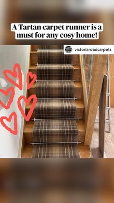 Tartan Carpet, Narrow Hallway Decorating, Stair Rods, Painted Stairs, Modern Staircase, Carpet Stairs, Carpet Runner, Home Interior Design, Cosy