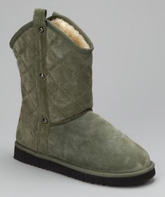 Take a look at this Olive Quilted Boot - Women by LAMO on #zulily today!