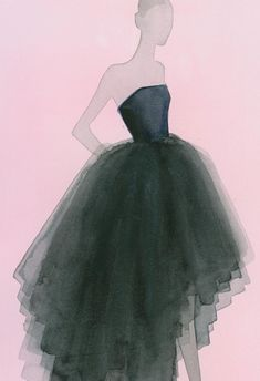 Fashion Illustration by Mats Gustafson (b. 1951), Spring 2013, Dior Ready-to-Wear, Watercolor.