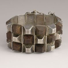 """Vintage William Spratling Silver and Rosewood """"Pyramids"""" Bracelet - Vintage Midcentury Modern Mexican Silver Jewelry Silver Jewelry Box, Black Gold Jewelry, Antique Jewelry, Vintage Jewelry, Silver Ring, Silver Earrings, 925 Silver, Sterling Silver, Gold Necklace"""