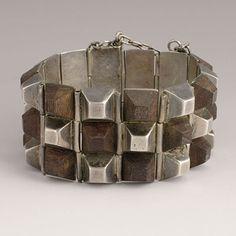 "Bracelet |  William Spratling.  1940's.  Silver and Rosewood ""Pyramids"""