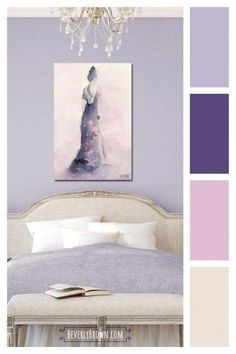 Lavender, purple, pink and greige color scheme for a bedroom. This pretty, feminine light purple and pale neutral color palette … Lavender Color Scheme, Purple Color Schemes, Purple Color Palettes, Bedroom Color Schemes, Bedroom Colors, Bedroom Decor, Purple Bedroom Colour Scheme, Coastal Master Bedroom, Lilac Bedroom