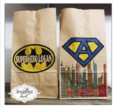 Birthday party favor bags Brown Paper Bags SuperHero / Super / Batman by JewelBoxInk $5.00