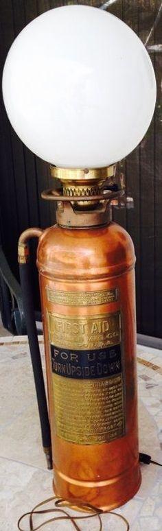 VINTAGE - BRASS & COPPER FIRE EXTINGUISHER LAMP - WD Allen Mfg Co - Chicago ILL