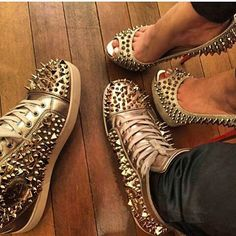 Wanted! I am loving this his and hers shoes trend Sneakers Fashion, Fashion Shoes, Fashion Outfits, Holographic Heels, Just Keep Walking, Matching Couple Outfits, Most Comfortable Shoes, Prom Shoes, Louboutin Shoes