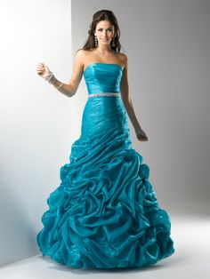 Fit & Flare Strapless Pleated Bodice Beaded Waistband Organza Prom Dress-sop0039, $232.95