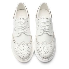 Yoins White Leather Look Round Toe Carving Lace-up Paltform Sneakers ($47) ❤ liked on Polyvore featuring shoes, sneakers, platform trainers, round toe sneakers, white platform shoes, white sneakers and lace up shoes