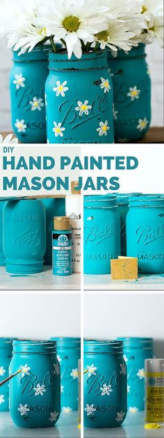 Check out the tutorial: #DIY Hand Painted Mason Jars #crafts #homedecor
