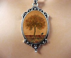Tree Necklace Wearable Art Tree Jewelry Autumn by Crystalyte925, $32.00