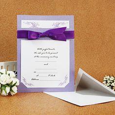 Elegant Design Wedding Invitation With Ribbon (Set of 50)