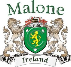 Malone coat of arms. Irish coat of arms for the surname Malone from Ireland. View your coat of arms at http://www.theirishrose.com/#top_banner or view the Malone Family History page at http://www.theirishrose.com/pages.php?pageid=43