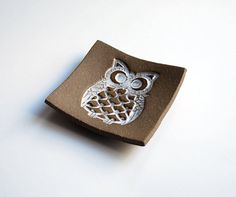 Owl Soap Dish Brown Pottery Ceramic Spoon by LaurenSumnerPottery, $18.00