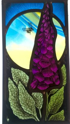 Stained glass bee and foxglove designed and made by Sarah Roberts Stained Glass Art