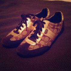 Coach Shoes Brown and Gold, practically new Coach gym shoes Shoes Athletic Shoes