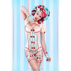 Latex Rubber Corset ( Lolly La Bomb) with 6 detachable suspenders ❤ liked on Polyvore