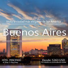 """Plan Buenos Aires.  Incluye  + Trasl. Aerop-Hotel -Aerop + 3 noches 4 días en el hotel PRINCIPADO Desayunos diarios, Visita de la ciudad, Cena Show de tango en """"la VENTANA"""" Impuestos Hoteleros."""