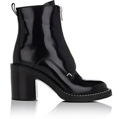 Rag & Bone Women's Shelby Zip-Front Ankle Boots (17 965 UAH) ❤ liked on Polyvore featuring shoes, boots, ankle booties, ankle boots, black, platform ankle boots, high heel ankle boots, black leather booties and black platform booties