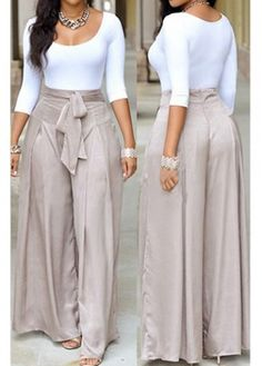 Scoop Neck White Top and Grey Loose Pants | modlily.com