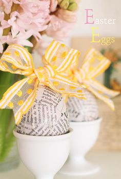 Eggs Covered Magazine or Book Pages w/Bright Yellow Bows - FUN!