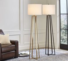 The contemporary and stylish Julia Floor Lamp will brighten up your room while adding a modern touch. Three wrought-iron legs come together with a white fabric shade, boasting a sleek update to a traditional tripod-style lamp. Vintage Floor, Lamp Decor, Room Lamp, Lamp, Standing Lamp Living Room, Modern Floor Lamps, Metal Floor Lamps, Floor Lamps Living Room, Vintage Floor Lamp