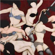 Kezban Arca Batibeki: Dark Red, 2010 - Mixed media, acrylic, embroidery with sequins and beads on canvas