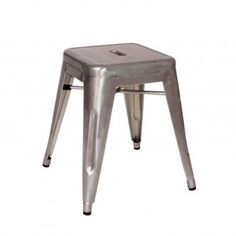 taburete bajo metal tolix h45 acero cepillado