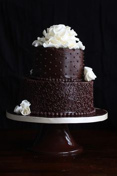 Two Tier Chocolate Cake - pretty cake with recipe! Nice