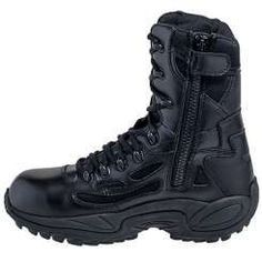 These Reebok Men's Black Rapid Response EH Side Zip Composite Toe Military Boots are like military tanks for your feet. Mens Boots Fashion, Best Mens Fashion, Armor Boots, Combat Boots, Men's Boots, Army Shoes, Composite Toe Work Boots, Walking Boots, Cool Boots