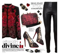 """""""Holiday Style: Leather Pants"""" by esch103 ❤ liked on Polyvore featuring Alberta Ferretti, KOTUR, Christian Louboutin, Balenciaga, Tory Burch, Versace, Betsey Johnson and Gucci"""