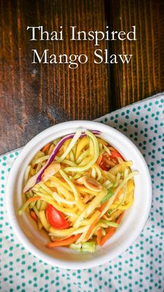 Healthy Thai inspired mango salad for just 102 calories and 3 PointsPlus - a perfect side dish for summer!