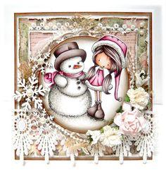 Skin: E000, E00, E21, E11, R11  Hair/Snowman Hat: E70, E77, E79  Pink Outfit: R81, R83, R85, R89  Snowman: W0, W1, W3, W5, W7