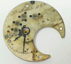Antique vintage LS Mathile & Co. fancy pocket watch part steampunk DIY art #13A
