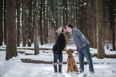 Shawntay and Justin went to Rock Cut State Park outside of Rockford IL for their candid photos for their first baby. The fresh snow made for beautiful winter maternity portraits. Here the mom and dad to be kiss with their dog between them.