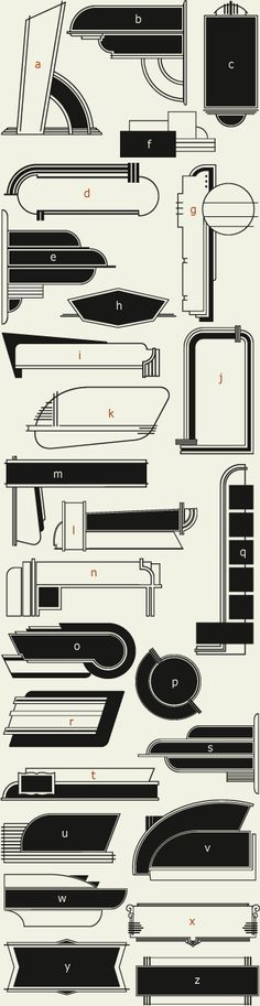 Letterhead Fonts / LHF 20 Six Panels (Cool Art Shape)