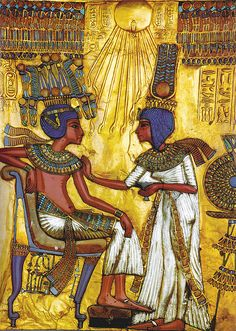 Detail of the throne of Tutankhamun, Queen Ankhesenamun holds a salve cup and spreads perfumed oil on her husbands collar in a typical Amarna style scene. The sun disc Aten shines above the royal couple. Luxor, Ancient Egyptian Art, Ancient History, Art History, Art Afro, Kairo, Valley Of The Kings, Tutankhamun, Ancient Artifacts