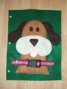 Buckle the Dog Collar Green Felt Quiet Book Page .  Pinned for inspiration only.  This one is for sale on Etsy.