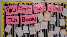 This bulletin board allows students to review their independent reading and suggest it to classmates in the form of a brief review. This is excellent for grade 7 English Language Arts because it gets students excited about reading.