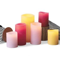 Give your home a warm glow without real flames with the real-wax Flameless Textured Candles, available in fun colors perfect for spring or summer. Candles And Candleholders, Flameless Candles, Pillar Candles, Romantic Candles, Beautiful Candles, Candle Rings, Grandin Road, Spring Blossom, Candle Making