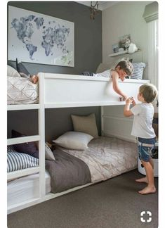Awesome boy's grey and blue shared bedroom with low bunk beds Ikea Bedroom Design, Bedroom Decor, Cozy Bedroom, Bedroom Designs, Bed Designs, Bedroom Furniture, Furniture Ideas, Furniture For Kids, Budget Bedroom