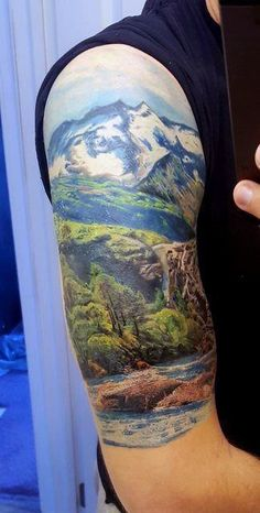 90 Landscape Tattoos For Men - Scenic Design Ideas - Awesome Landscape Male Half Sleeve Tattoo - Half Sleeve Tattoos Lower Arm, Cool Shoulder Tattoos, Leg Sleeve Tattoo, Mens Shoulder Tattoo, Full Sleeve Tattoos, Sleeve Tattoos For Women, Tattoo Sleeve Designs, Chest Tattoo, Leg Tattoos