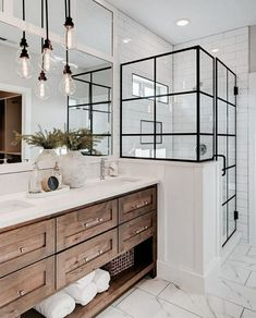 If you are looking for Farmhouse Bathroom Vanity Decor Ideas, You come to the right place. Below are the Farmhouse Bathroom Vanity Decor Ideas. This . Bathroom Vanity Decor, Bathroom Renos, Bathroom Interior, White Bathroom, Remodel Bathroom, Bathroom Lighting, Bathroom Goals, Budget Bathroom, Design Bathroom