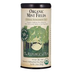 Organic Mint Fields Tea Bags  Mint tea is honestly one of my favorite things on earth.
