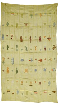 Africa | Wrapper from the Ewe people of Ghana | Silk; on a yellow ground with stylised images of butterflies, combs,scissors, keys, flora & fauna