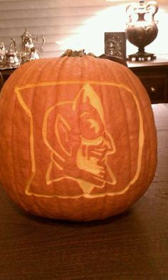 this is the coolest pumpkin i have ever seen.    This is absolutely fantastic :)  Happy Halloween, Duke fans!