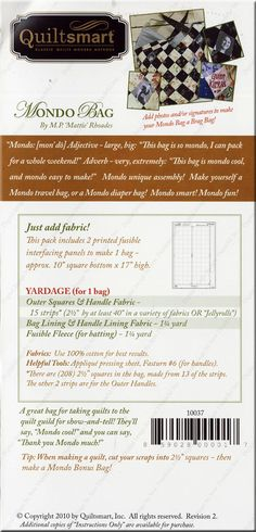 Mondo Bag sewing pattern from Quiltsmart