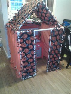 Pvc pipe and knotted fabric for an indoor fort/house