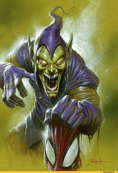 Green Goblin by Lucio Parrillo - Marvel Comics - Comic Book Art Comic Book Villains, Marvel Villains, Comic Book Characters, Comic Book Heroes, Marvel Characters, Comic Character, Comic Books Art, Comic Art, Marvel Dc Comics