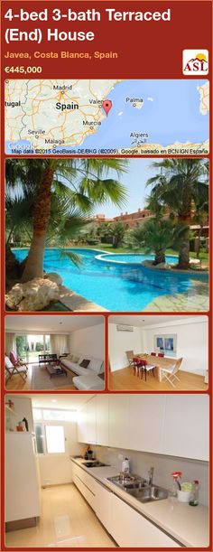 Terraced (End) House for Sale in Javea, Costa Blanca, Spain with 4 bedrooms, 3 bathrooms - A Spanish Life Central Heating, Private Garden, Townhouse, Costa, Terrace, Spain, Bathroom, Bed, Modern