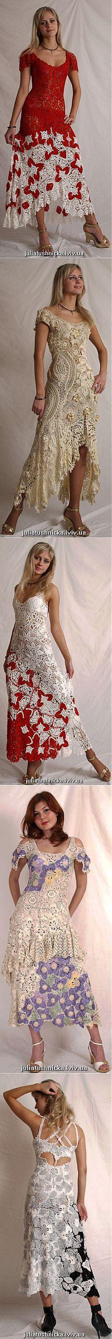 Вязанные платья крючком